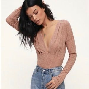 NWT FreePeople V-Neck Long Sleeve Top